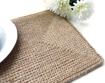 Jute table rectangular placemats in a rustic or boho style, farmhouse placemats, set of 2, 4, 6