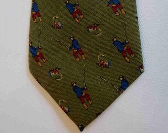 SALE - Olive Green Wool Tie With Fishermen Motif  by John Comfort