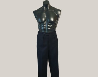 Black Wool Dress Pants With Button Fly - Waist 90 cm