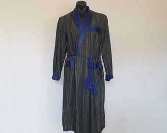 1960s Blue & Green Cotton Robe With Satin Collar by Sefton - Medium