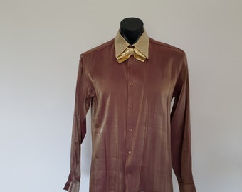 Gold and Brown Formal Shirt With Bow Tie by Anthony Kulsar - M