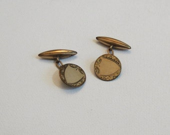 Gold Plated Signet Cuff Links - Torpedo Bar and Chain