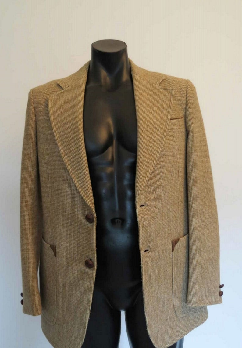 Tan Wool Tweed Look Jacket With Elbow Patches by Stafford Ellinson