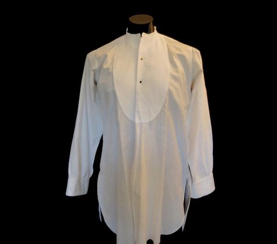 Band Neck Collarless Dress Shirt, Dinner Shirt - b