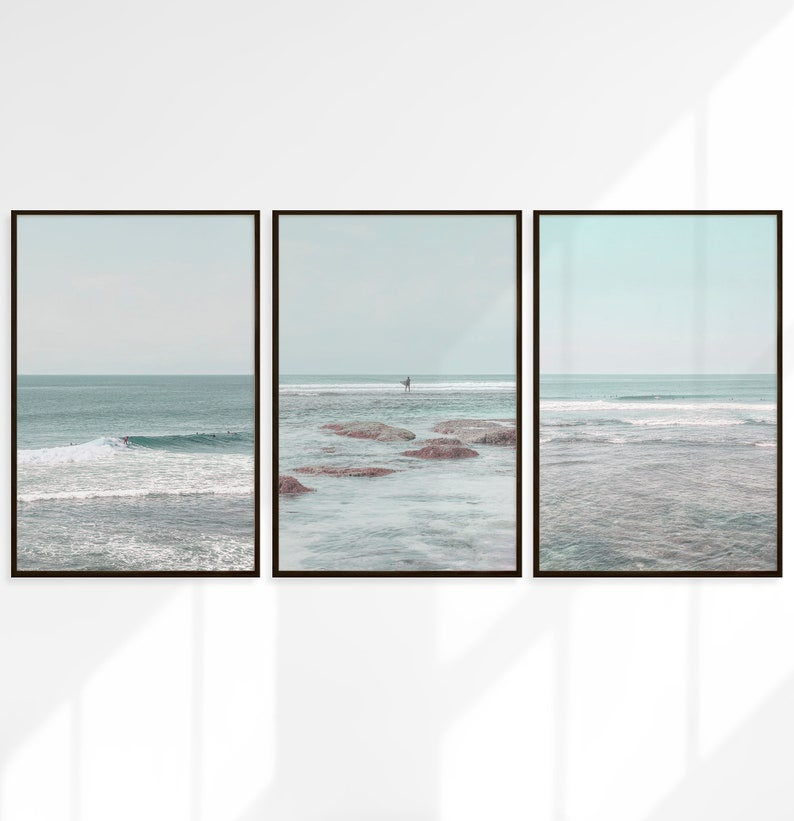 Blue Surf Wall Art Decor Large Printable Water Decor Download Digital Photography Ocean Waves Surf Print Set of 3 Beach Surfing Poster