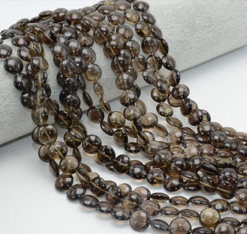 Natural Smoky Quartz Flat Round Beads AAA Quality 10MM Size,Available Beads,Smooth Beads,Jewelry Making,Polished Flat Round Beads