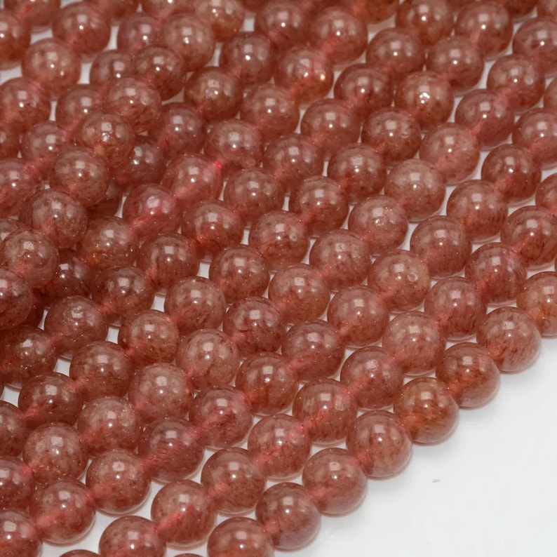 Natural Strawberry Quartz Beads AAA Quality 6,8MM Size available,Round Beads,Smooth Beads,Jewelry Making,Polished Strawberry Quartz Beads