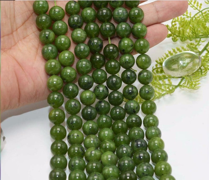 Natural Canadian Jade Beads AAA Quality 6,8,10MM Size available,Round Beads,Smooth Beads,Jewelry Making,Polished Canadian Jade Beads