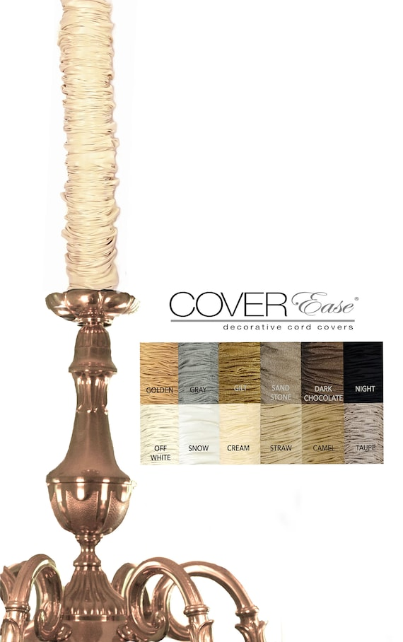 REMOVABLE Chandelier Chain Cord Cover~HOOK n LOOP~Brown Super Silk 3//6//9 ft