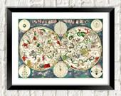 Constellations Print Vintage Cosmology Art Illustration