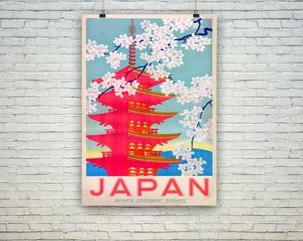 Japan Travel Poster: Vintage Pink Temple Tourism Print