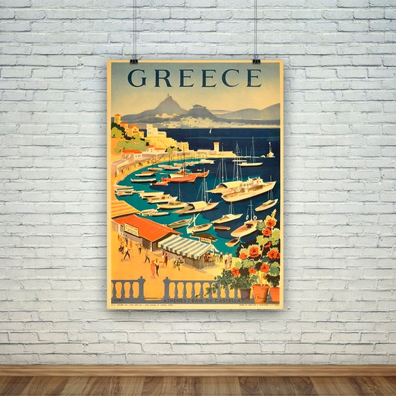 Wall art Grece : Vintage Greek Travel advert Reproduction. poster