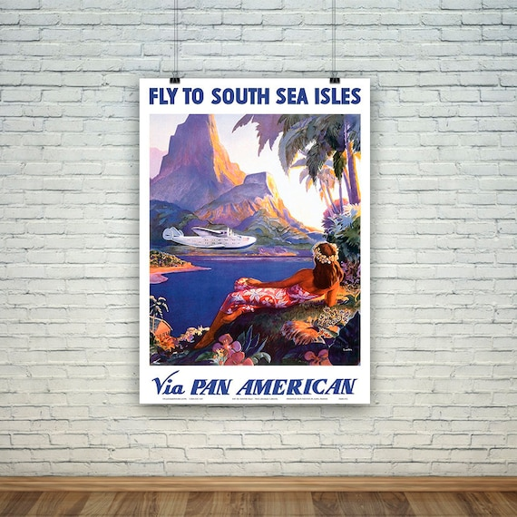 New Zealand South Pacific Kiwi Bird Vintage Travel Advertisement Art Poster
