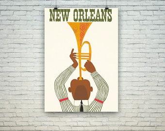 New Orleans Poster: Vintage Jazz Trumpeter Travel Print