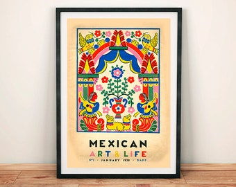 Mexico Art and Life Poster: Collage Mexican Magazine Print