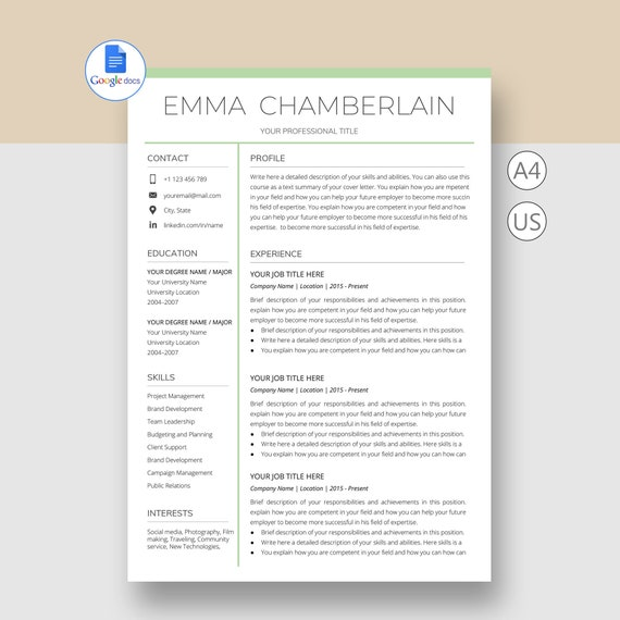 Google Docs Resume Cover Letter Template from i.etsystatic.com