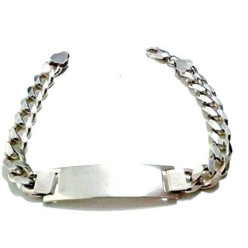 Unisex Id Blank 925 Silver Sterling Miami Cuban Link Chain 9mm Italy Design Bracelet 1.05 oz 8.66