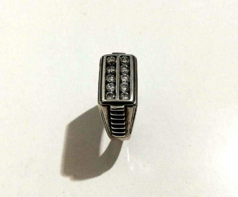 925 Sterling Silver Rectangular Shape Zircon Gem Strips Designs Unisex Ring Sz 8