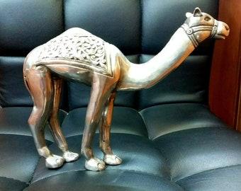 "Vtg Art Decorative Camel Statue figurine 800 Silver Sterling Dromader 7.87 x 3.93 x 6.49"""