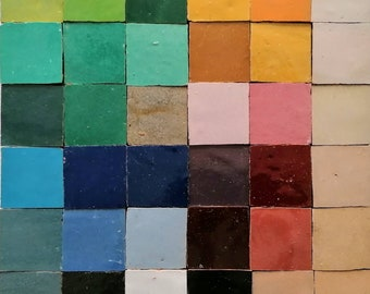 """Fez Handmade Clay Terracotta Tile Moroccan Zellige 4x4"""" or 2x2"""" Unicolor Natural Color 1 Sq ft"""