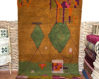 """Vintage Unique Azilal Handmade Rug 6.40 x 9.68 ft Abstract Designs Colorful Handcrafted Wool Moroccan Carpet """"Autumn Forest"""""""