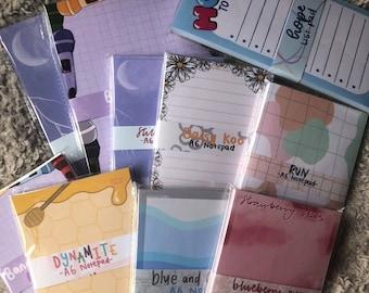 Bangtannie Inspired Notepads   A6 Tearoff   A5 Tearoff   List pad
