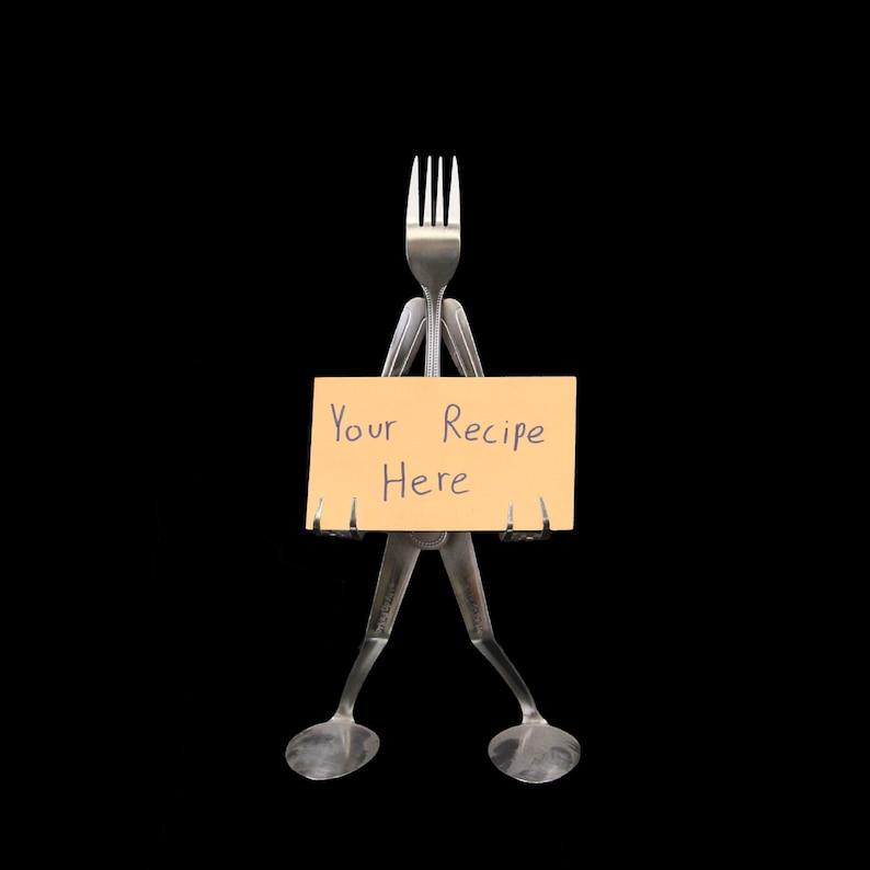 Novelty Recipe Card Stand Holder Silver Fork Man Kitchen Decor Forked Up Art F26