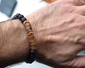 Amber braceletbracelet naturalround shaped amber braceletgemstone braceletunisex gift Baltic amber bracelet unisex gift 415