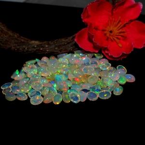 Natural Ethiopian Opal-Oval Cabochon-Calibrated Opal Wholesale Lot-Flashy Multi Fire Welo Fire Opal Cabochon,AAA Opal Gemstone #B/_39