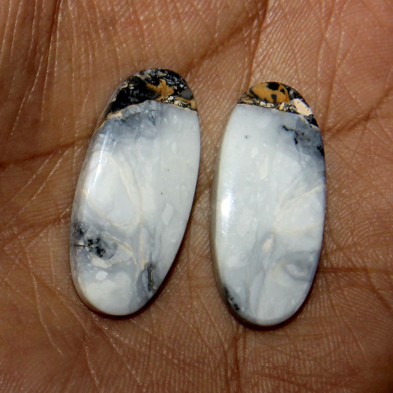 29x13 mm Natural Black /& White Agate Gemstone-Agate Black Cabochon Pair-Beautiful Cabochon-Agate-Gemstone For Jewelry-Gemstone For Earrings