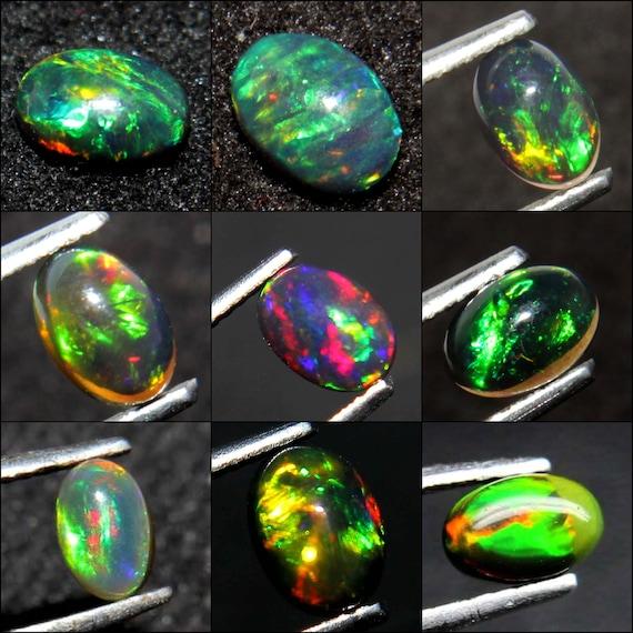 6.10 Carat Natural Ethiopian Black Wello Fire Black Opal,Multi Color Ethiopian Opal Gemstone Cabochon Smooth Opal Cabochon EE717 A++