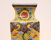 Large Chinese porcelain dragon phoenix vase Kangxi mark