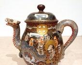 Japanese Satsuma dragon tea service, Meiji era marked