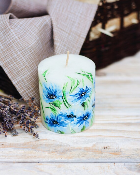 Hand Painted Candles Pillar Candles Decorated Pillar Candles House Warming Gift Meadow Flowers Decor