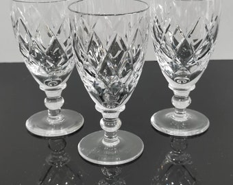 England Crystal Glasses 4 Set of Four Acid Etched Thomas Webb /& Corbett