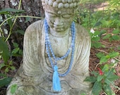 Angelite, Amethyst, Quartz, and Iolite Mala. Light Blue 108 Bead Hand Knotted Gemstone Mala. Mindfulness Gift. Boho Tassel Necklace