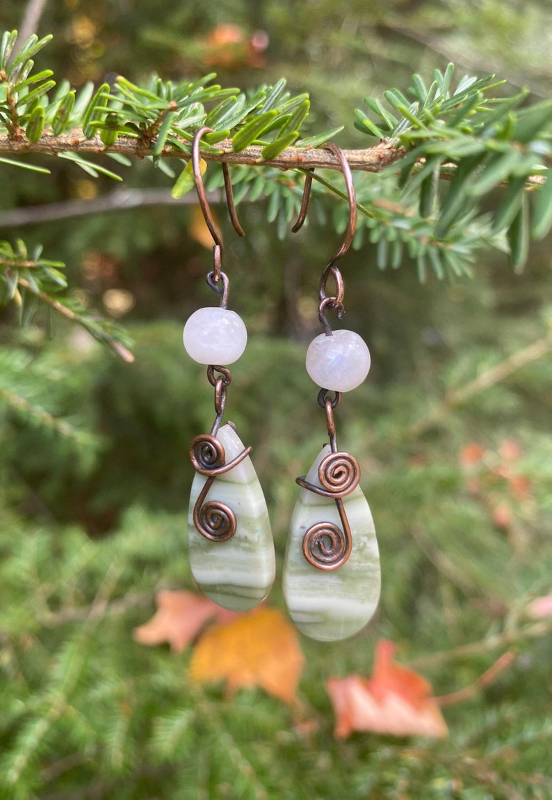 Serpentine and Moonstone Dangle Earrings a Gift for Her Antique Copper Wire Wrapped Boho Natural Stone Earrings with Handmade Ear Wires