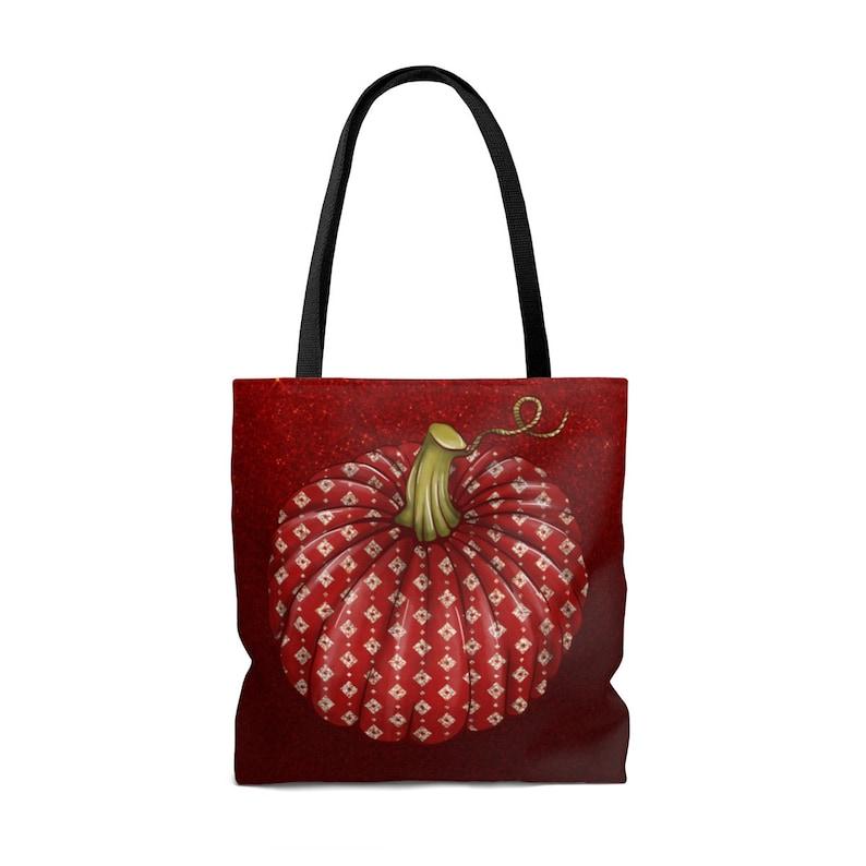 Gothic Tote Bag Halloween Pumpkin Tote Pumpkin Art Print Red Goth Tote Bag Vampire Bag Fashion Goth Tote Womens Shoulder Bag Gift For Her