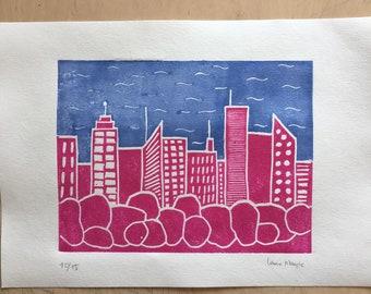 Linogravure city too pink