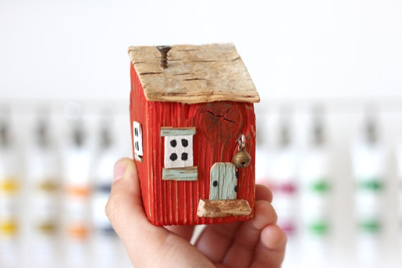 Old Tiny Wooden House. Driftwood art. Driftwood houses