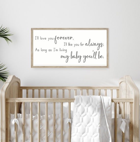 Nursery Signs Ill Love You Forever Sign| Framed Wood Signs Tamengi ...