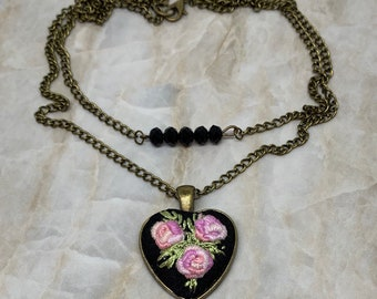 Double Strand Statement Necklace In Brass With A Cross Steampunk Style Handmade Jewellery, Dramatic Embroidered Rose Necklace