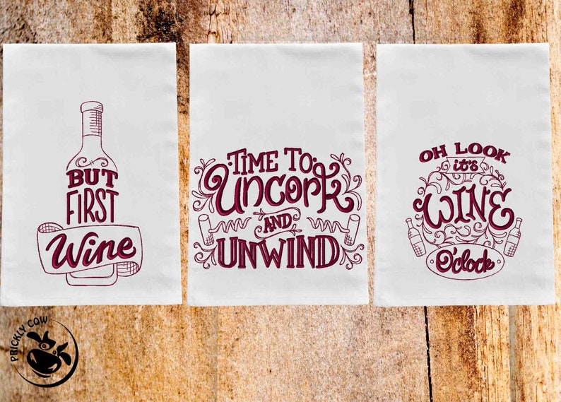 Funny Wine Flour Sack Towels Machine Embroidered Set of All 3
