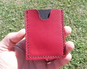 Red and Black Soft Leather Minimalist Wallet, black thread, three pockets, handcrafted, hand stitched, front pocket wallet, card holder