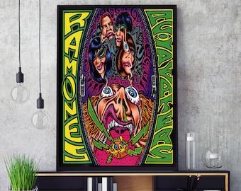 Framed Original Art Album Print Lyrics Gift Self-titled Album Ramones Poster