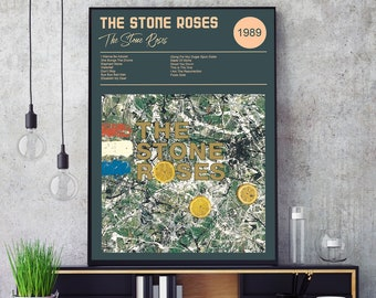 Stone Roses Ian Brown Portrait Canvas or Poster Made Up Of Song Lyrics 8 Colours