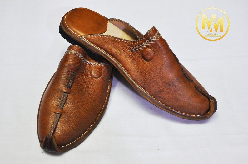 Berber slipper Leather Shoes gift for him. Handmade shoes Mules Hand dyed Moroccan Brown Babouche Organic Leather Men/'s slippers