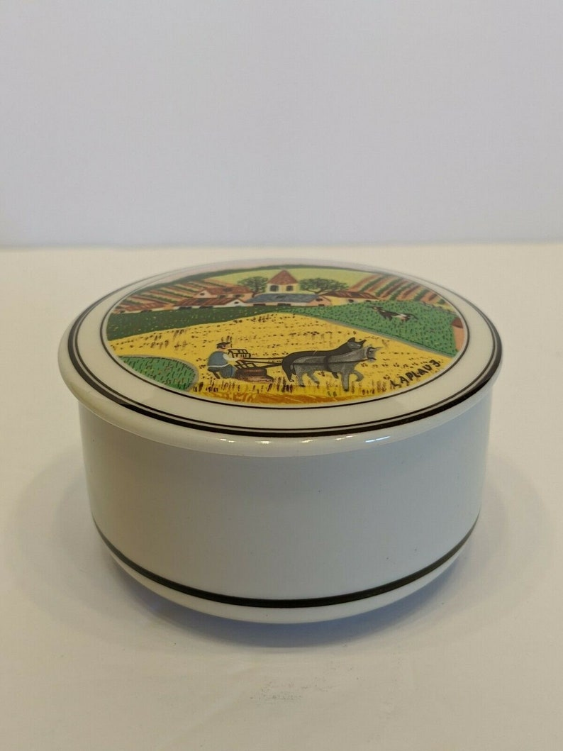 Villeroy And Boch Porcelain Trinket Dresser Box Farm Plowing Country Luxembourg