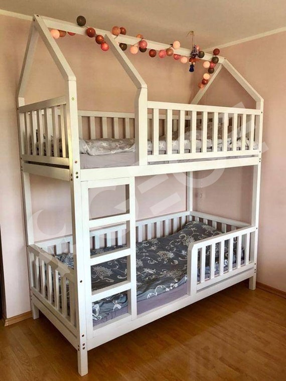 Two Story Kids Bed House Real Wood Bed Pine Bed Montessori Bed Etsy