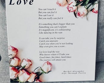 Love Poem, Valentines Day Gift, Love Gifts for Her, Love Gifts for Him, Love Wall Art, Love Wall Decor, Canvas, Poem about Love, Valentines
